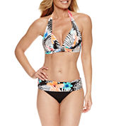 Pure Paradise® Bra Sized Floral Halter Swimsuit Top or Fold Over Hipster