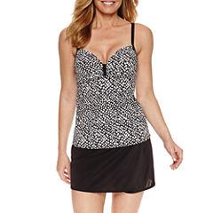 Pure Paradise® Bra Sized Dots Tankini Swimsuit Top or Black Skirt