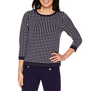 Sag Harbor 3/4 Sleeve Crew Neck Pullover Sweater
