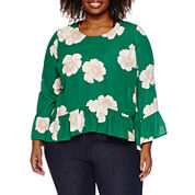 a.n.a Long Sleeve Crew Neck Woven Blouse-Plus