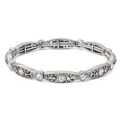 Liz Claiborne® Marcasite and Crystal Silver-Tone Stretch Bracelet