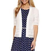 Liz Claiborne® Elbow-Sleeve Crochet Shrug