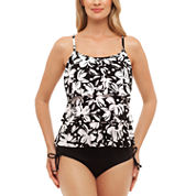 St. John's Bay® Dotty Daisy Triple Tier Tankini or Adjustable Side Brief