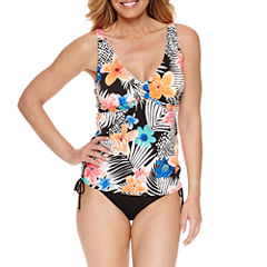 Pure Paradise® Bra Sized Floral Tankini Swimsuit Top or Adjustable Side Hipster
