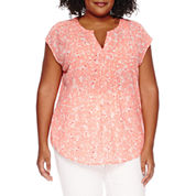 Liz Claiborne Short Sleeve Peasant Top