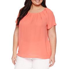 Worthington® Short Sleeve Scoop Neck Woven Blouse - Plus