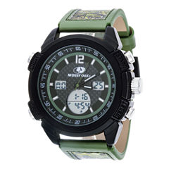 Mossy Oak® Mens Olive Camouflage Leather Strap Sport Watch