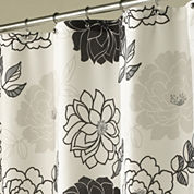 Summer Garden Black & White Shower Curtain