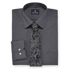 Stafford® Travel Easy-Care Dress Shirt and Tie Set - Big & Tall