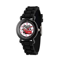 Disney Cars Boys Black Strap Watch-Wds000150