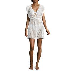 Arizona Solid Crochet Swimsuit Cover-Up Dress-Juniors