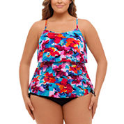 St. John`s Bay Pretty Pleats Triple Tier Tankini or Adjustable Side Brief-Plus