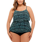 St. John's Bay Tribal Textiles Triple Tier Tankinior Adjustable Side Swim Bottom-Plus