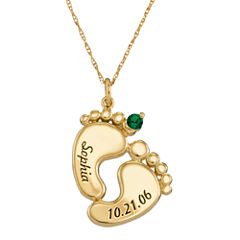 Personalized 10K Gold Name, Date and Birthstone Footprints Pendant Necklace
