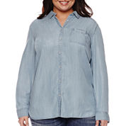 Stylus™ Oversized Long-Sleeve Shirt With Back Pleat - Plus