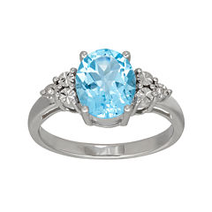 Genuine Blue Topaz and Diamond-Accent Sterling Silver Ring
