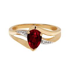 Genuine Garnet and Diamond-Accent 10K Yellow Gold Ring