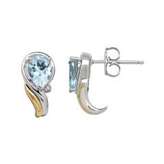 Genuine Blue Topaz and 1/10 CT. T.W. Diamond Swirl Earrings