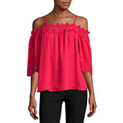 by&by 3/4 Sleeve Babydoll Top Juniors