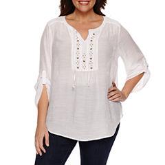 Liz Claiborne 3/4 Sleeve Roll Tab Sleeve Solid Peasant Top Plus