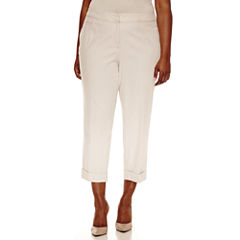 Worthington® Wide Waistband Cuffed Hem Ankle Pants - Plus