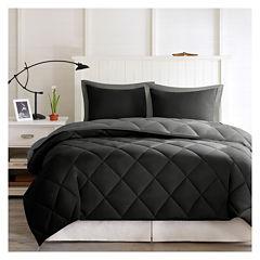 Larkspur Microfiber Reversible Down Alternative Comforter Set