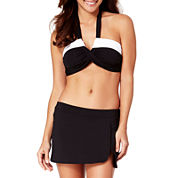 Liz Claiborne® Bandeau Halter Bra and Banded Split Swim Skirt