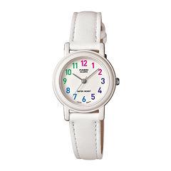 Casio® Womens White Leather Strap Watch LQ139L-7BOS