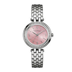 Caravelle New York® Womens Crystal-Accent Stainless Steel Bracelet Watch 43L193