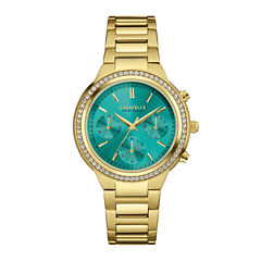 Caravelle New York® Womens Crystal-Accent Boyfriend Chronograph Gold-Tone Stainless Steel Bracelet Watch 44L215