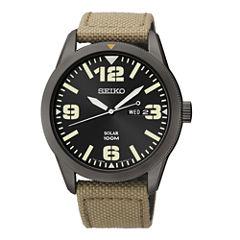 Seiko® Mens Brown Nylon Strap Solar Watch SNE331