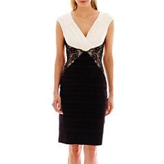 Melrose Cap-Sleeve Lace Inset Shutter Skirt Dress