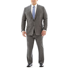 Claiborne Stretch Black and White Nailhead Suit-Big and Tall Fit