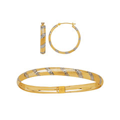 10K Two-Tone Gold Diamond-Cut Bangle and Hoop Earring 2-pc. Jewlery Set
