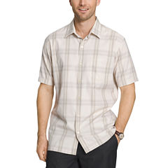 Van Heusen Short Sleeve Textured Weave Camp Button-Front Shirt