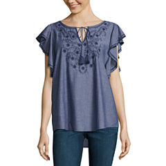 St. John's Bay Short Sleeve Tie Neck Woven Blouse