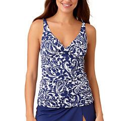 Liz Claiborne Mystique Cobalt Tankini Swimsuit Top