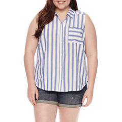 Arizona Sleeveless Button-Front Shirt-Juniors Plus