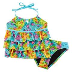 Breaking Waves Girls Tie Dye Tankini Set - Big Kid