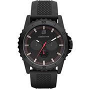 Claiborne® Mens Black Dial Black Silicone Strap Watch