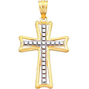 14K Two-Tone Gold Textured Cross Charm