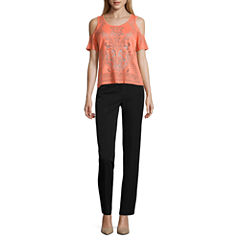 Nicole by Nicole Miller Flutter Cold Shoulder Burnout Top or Skinny Ankle Pants