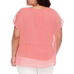 Alyx Short Sleeve Woven Blouse-Plus