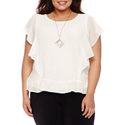 Alyx Short Sleeve Ruffle Side Woven Blouse with Necklace-Plus