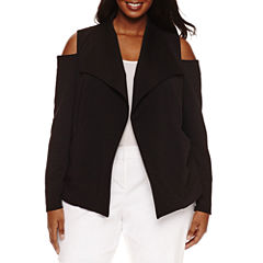 Bisou Bisou Long Sleeve Cold Shoulder Textured Blazer-Plus