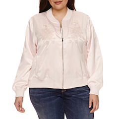Boutique + Floral Embroidered Bomber Jacket-Plus
