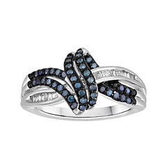1/3 CT. T.W. White and Color-Enhanced Blue Diamond Swirl Ring