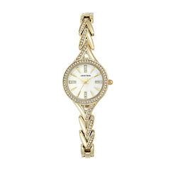 Armitron® Womens Gold-Tone Round Bangle Watch