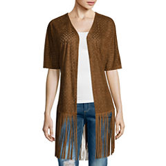 i jeans by Buffalo Short-Sleeve Faux-Suede Fringe Jacket