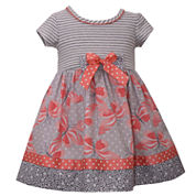 Bonnie Jean short sleeve knit stripe to butterfly print dress Dress - Baby Girls